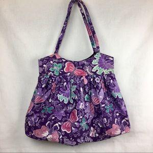 Purple floral fabric purse shoulder bag tote large